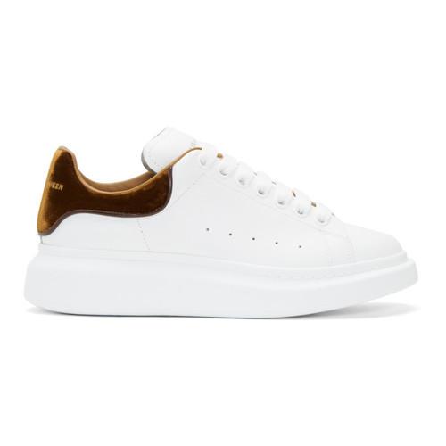 ALEXANDER MCQUEEN White & Tan Oversized Sneakers