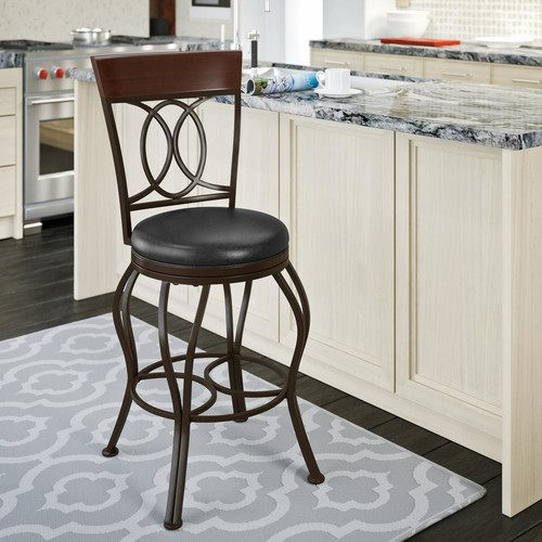 CorLiving Jericho 26 in. Metal Bar Stool with Swivel Dark Brown Bonded Leather Seat