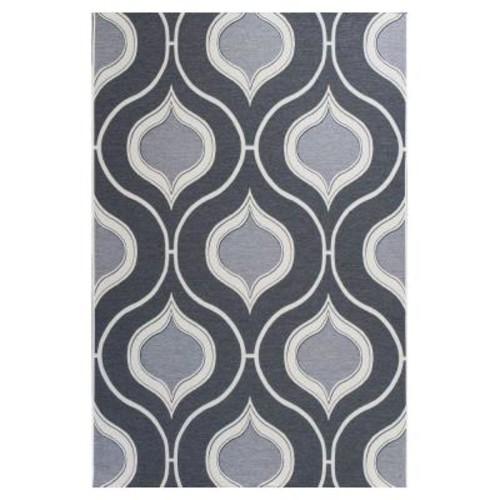 Kas Rugs Summer Trellis Grey/Ivory 5 ft. 3 in. x 7 ft. 7 in. All-Weather Patio Area Rug