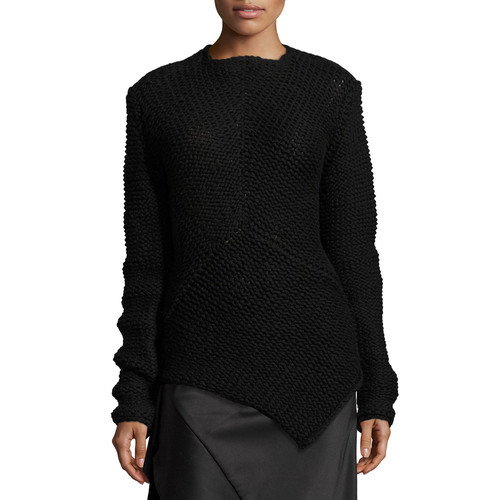 NARCISO RODRIGUEZ Asymmetric Knit Cashmere Sweater, Black