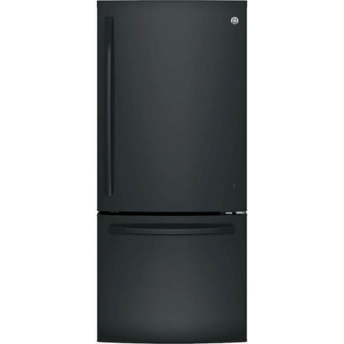 GE 20.9 cu. ft. Bottom Freezer Refrigerator in Black