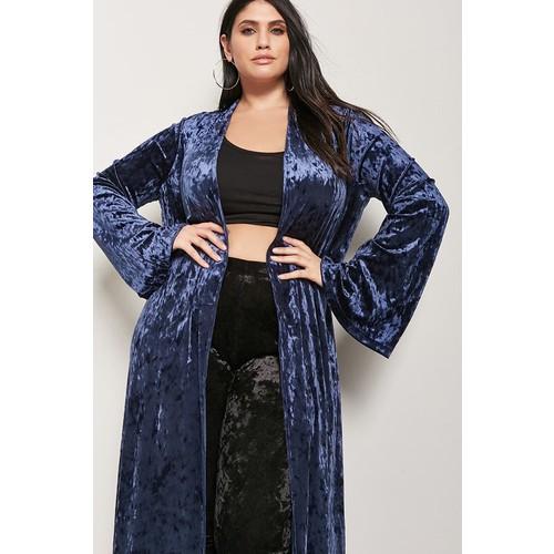 Plus Size Longline Velvet Cardigan