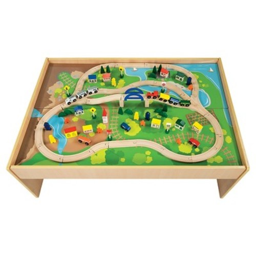 All Aboard Wooden Train Table