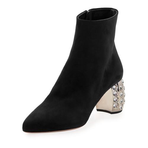 MIU MIU Suede Crystal-Studded Heel Bootie, Black