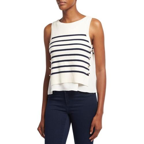 3.1 PHILLIP LIM Sailor Striped Tank W/ Silk Underlay, White/Blue