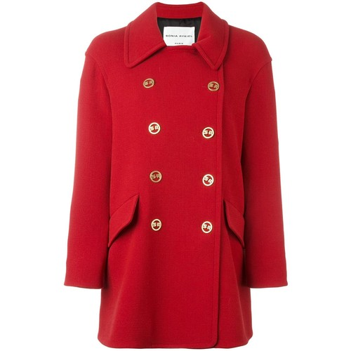 SONIA RYKIEL Logo Buttons Double-Breasted Coat
