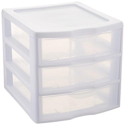 Sterilite ClearView 3 Storage Drawer Organizer [White]