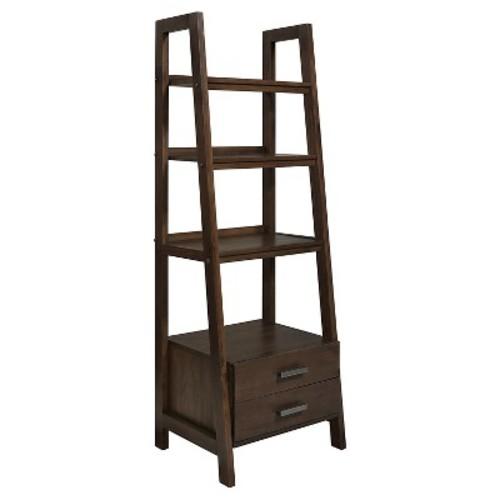 Sawhorse Ladder Storage Shelf Medium Saddle Brown - Simpli Home