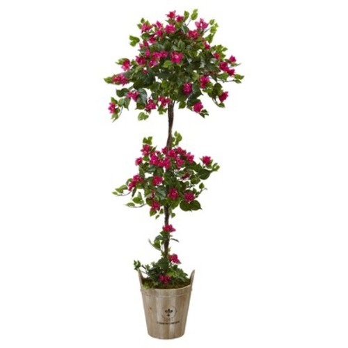 Bougainvillea Tree with European Barrel Planter 4.5ft - Nearly Natural