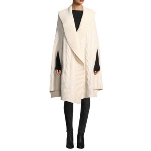 BURBERRY Cable Knit Wool & Cashmere Poncho