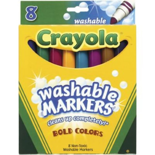 Crayola Washable Broad Line Markers, Assorted Colors, 8/Box