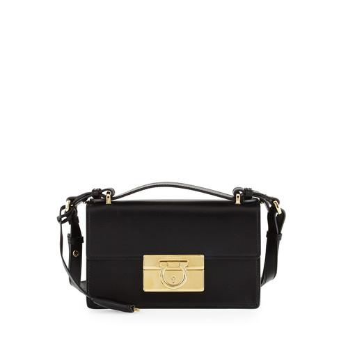 SALVATORE FERRAGAMO Aileen Small Leather Shoulder Bag, Nero