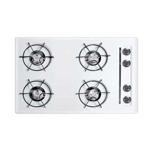 Summit Appliance 30 in. Gas Cooktop in White with 4 Burners