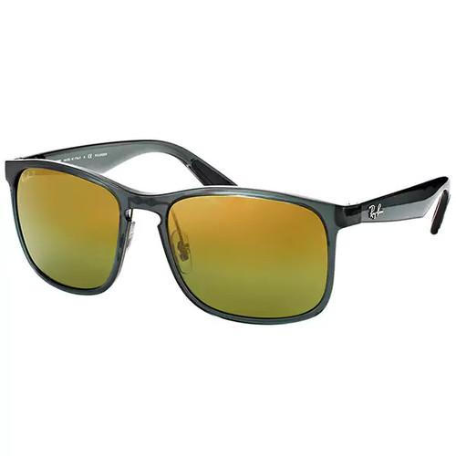 Ray-Ban RB 4264 876/6O Shiny Grey Plastic Square Sunglasses Gold Flash Polarized Chromance Lens