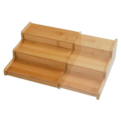 Seville Classics 3-Tier Expandable Bamboo Spice Rack Step Shelf Cabinet Organizer [In Cabinet-Medium]