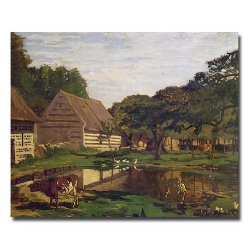 18x24 inches Claude Monet 'A Farmyard in Normandy, 1863' Canvas Art