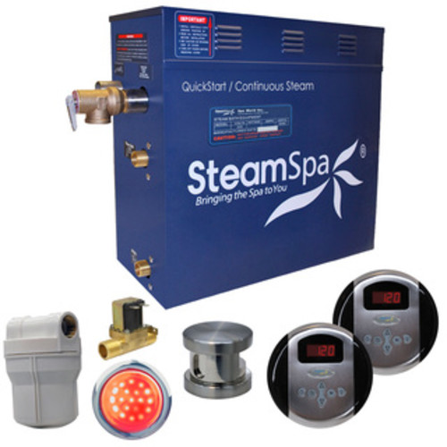 SteamSpa Royal 6 KW QuickStart Steam Bath Generator Package with Built-in Auto Drain in Brushed Nickel