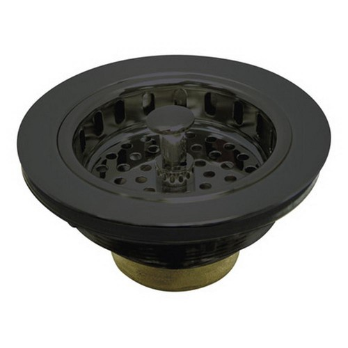 Kingston Brass 4-1/2 in. Kitchen Sink Flange and Strainer in Black Stainless Steel