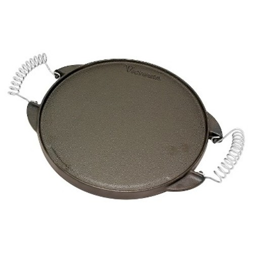 Victoria Round Reversible Cast Iron Griddle Grill with Cool-Touch Removable Handles