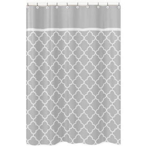 Sweet Jojo Designs Grey/ White Trellis Shower Curtain