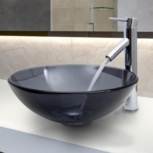 VGT250 Sheer Black Glass Circular Vessel Bathroom Sink with Faucet [Finish : Sheer Black]