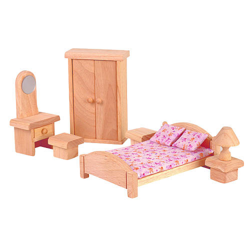 PlanToys Wooden Dollhouse Bedroom - Classic