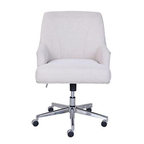 Serta Leighton Home Fabric Mid-Back Chair, Stoneware Beige/Chrome