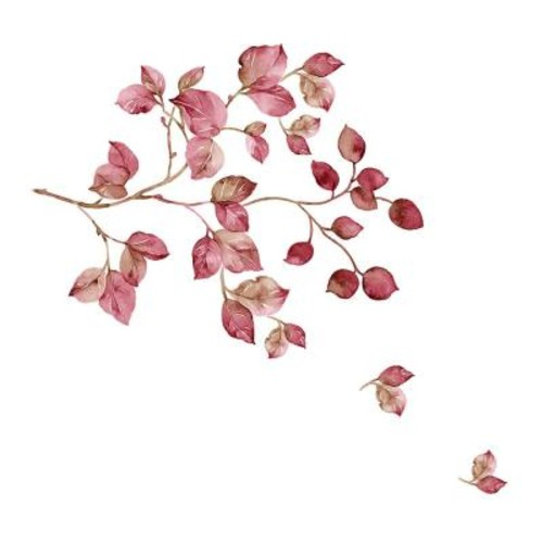 Brewster 39.4 in. x 27.6 in. Pink Watercolor Wall Decal
