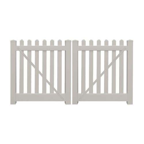 Weatherables Plymouth 8 ft. W x 3 ft. H Tan Vinyl Picket Double Fence Gate Kit