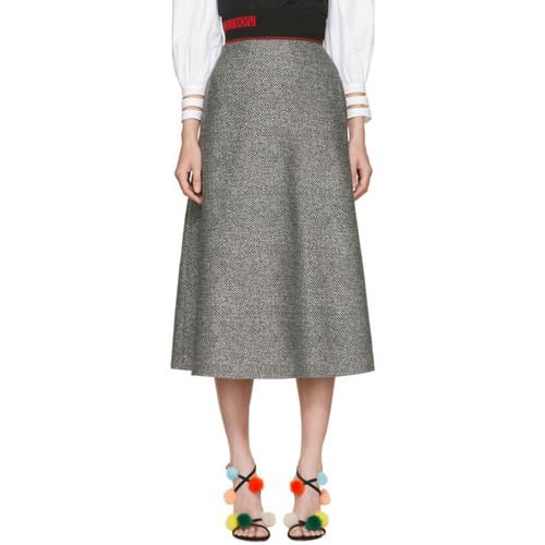 FENDI Black & White Houndstooth Skirt