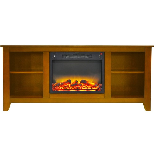 Cambridge 63 in. Entertainment Stand and Electric Fireplace with Enhanced Log Display, Teak