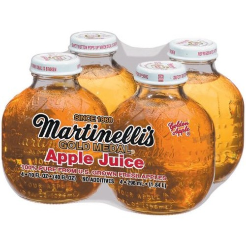 Martinelli's Gold Medal 100% Pure Apple Juice, 10 fl oz, 4 count