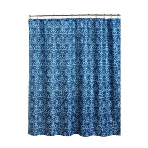 Creative Home Ideas Oxford Weave Textured 70 in. W x 72 in. L Shower Curtain with Metal Roller Rings in Melissa Indigo