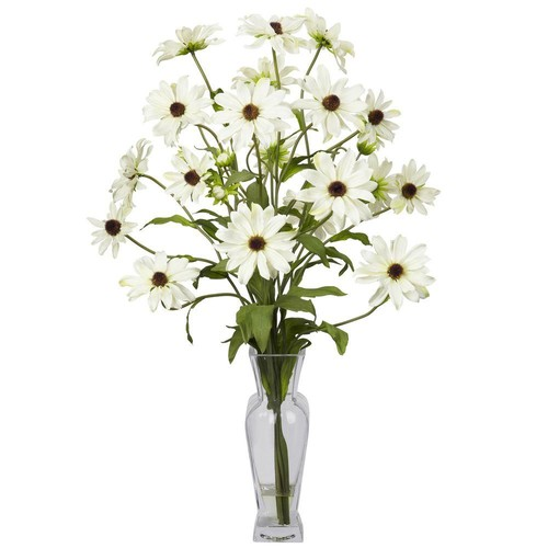 27 in. H White Cosmos with Vase Silk Flower Arrangement