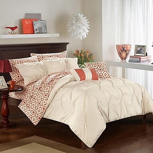 Chic Home Solice 10-Piece King Reversible Comforter Set in Beige