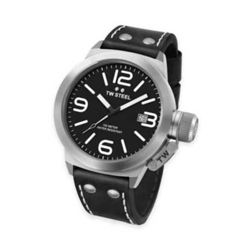 TW Steel Unisex 38mm Canteen Watch in Stainless Steel with Black Leather Strap