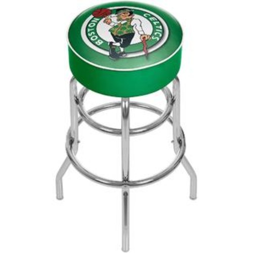 TRADEMARK GLOBAL BOSTON CELTICS CHROME PADDED SWIVEL BAR STOOL