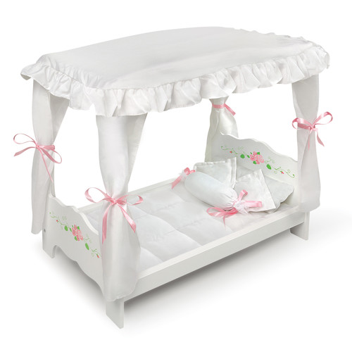 Badger Basket Canopy Doll Bed with Bedding - White Rose