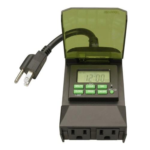 Woods 15-Amp 7-Day Outdoor Plug-In Dual-Outlet Digital Timer, Black