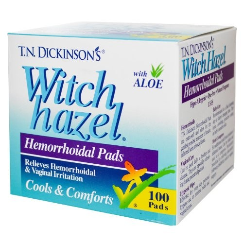 T.N. Dickinson's Hemorrhoidal Pads, Witch Hazel with Aloe, 100-Count Package [100-Count Package]