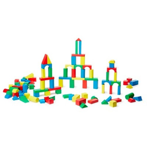Melissa & Doug Wooden Building Blocks Set - 100 Blocks