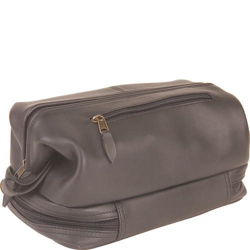 Royce Leather Toiletry Travel Wash Bag with Zippered Bottom Compartment, Black, One Size