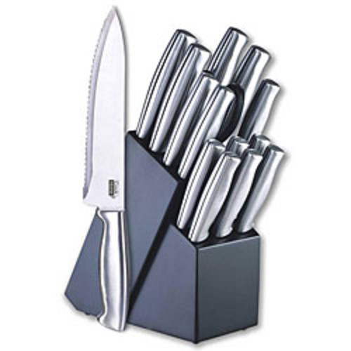 Ginsu Koden Series 14Pc Stainless Steel Serrated Knife Set  Cutlery Set w/ Stainless Steel Kitchen Knives, Black Block