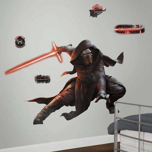 RoomMates 2.5 in. W x 27 in. H Star Wars EP VII Kylo Ren 13-Piece Peel and Stick Giant Wall Decal with Glow in the Dark