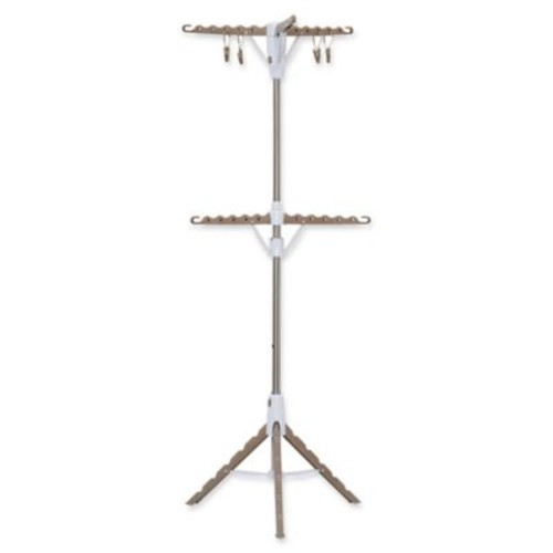 Household Essentials 2-Tier Tripod Clothes Drying Rack in Tan/White