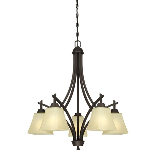 Westinghouse Midori 5-Light Oil Rubbed Bronze Chandelier with Amber Linen Glass Shades