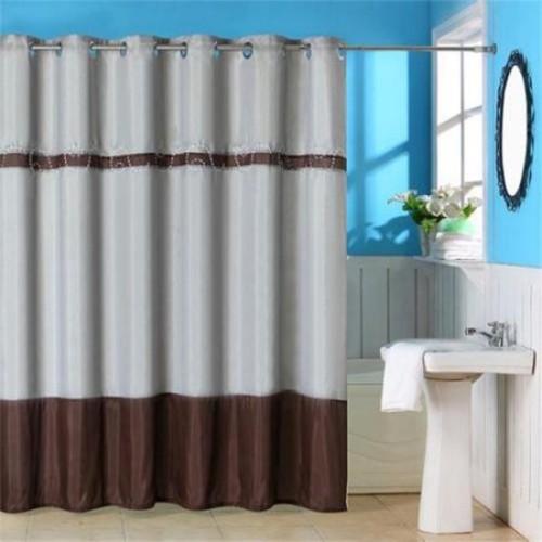 Lavish Home Claridge Embroidered Grommet Style Shower Curtain