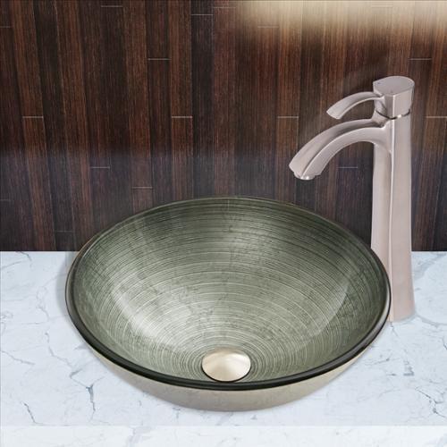 VIGO Glass Vessel Sink in Simply Silver with Otis Faucet Set in Brushed Nickel