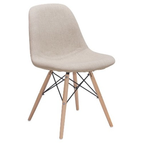 Modern Upholstered Metal and Beechwood Dining chair - Beige - ZM Home