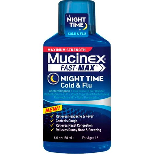 Mucinex Fast-Max, Cold & Flu, Night Time, Maximum Strength, 6 fl oz (180 ml)